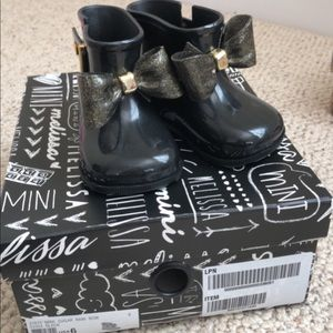 Mini Melissa Toddler Size 6 Black Ankle Boots